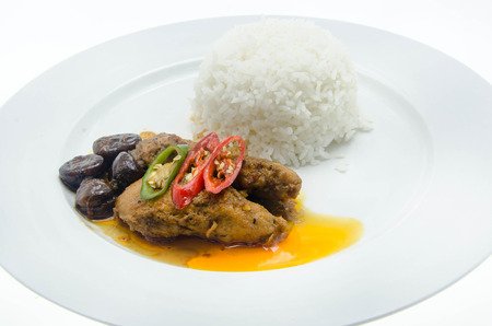 Thai food mussaman curry with rice photo