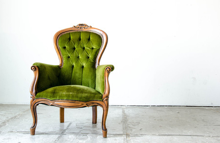 classic furniture: Luxury green vintage style sofa in vintage room Stock Photo