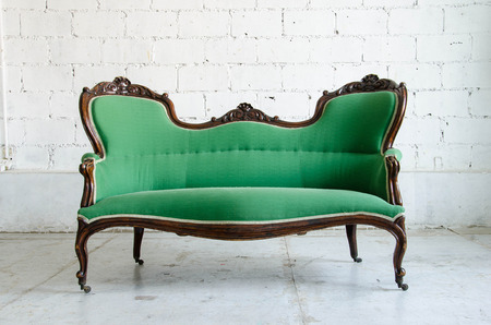 luxurious sofa: Luxurious green classical style Armchair sofa couch in vintage room