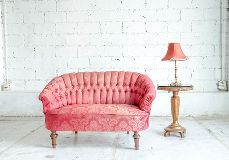 Classical Style Sofa Couch In Vintage Room With Desk Stock Photo ...