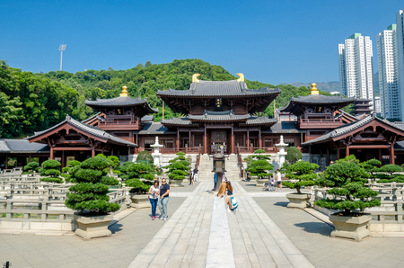HONG KONG - NOVEMBER 15, 2016: People are viiting Chi Lin Nunnery, Tang dynasty style temple.