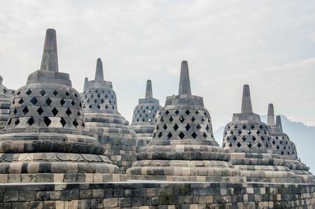 Stupas in Borobudur Temple, Central Java,Yogyakarta, Indonesia.