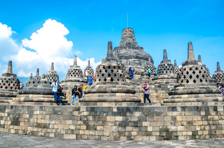 Yogyakarta, Indonesia - May 20, 2016 - - Unidentified people visit Borobudur Temple where is the historical Buddhist relic founded Yogyakarta ,Java ,Indonesia.