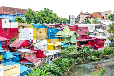 View of one thecolorful, neighborhoods north of the touristic Malioboro street, Yogyakarta, Java, Indonesia.