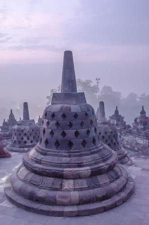 Sunrise at Borobudur Temple, Yogyakarta, Java, Indonesia. Editorial