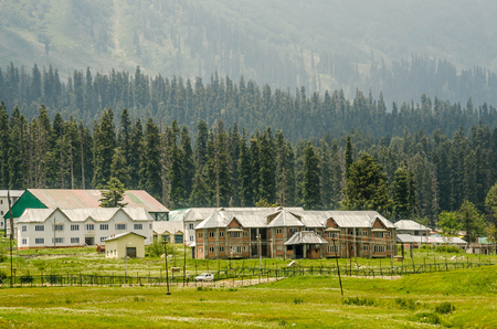 Mountain of Gulmarg a hill station in summer time, a popular skiing destination of the Indian state of Jammu & Kashmir. Stock Photo