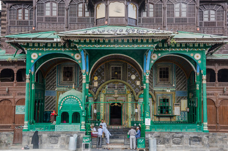 Srinagar, Jammu and Kashmir, India - July 4, 2017 : Khanqah-e-Moula ancient mosque in old town of Srinagar, Jammu and Kashmir, India