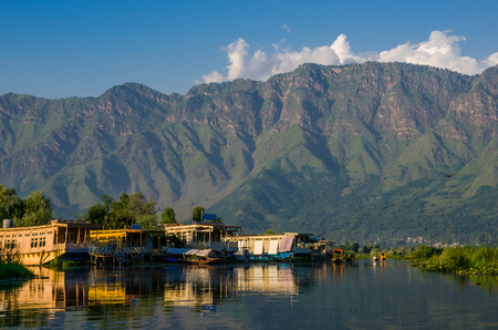 House boats on the dal lake in Srinagar, Jammu and Kashmir state, India