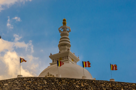 Shanti Stupa (Peace Pagoda) view on a hilltop in Chanspa in Leh, Jammu and Kashmir state, India. Stock Photo
