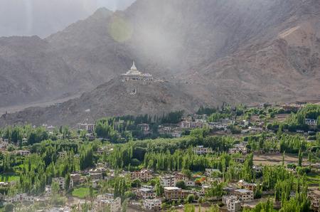 View of Tall Shanti stupa with beautiful blue sky, the big stupa in Leh,Jammu and Kashmir, Ladakh, India.