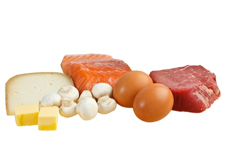 d: Food sources of vitamin D, including fish, meat, eggs, dairy and mushrooms