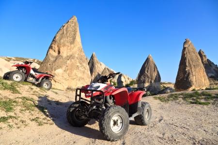 Quad bikes in Rose Valley, Cappadocia, Turkey Stock Photo - 13841036