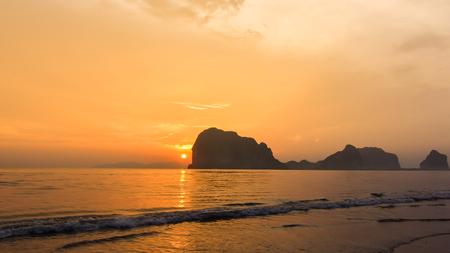 trang: Sunset at Trang beach in Thailand