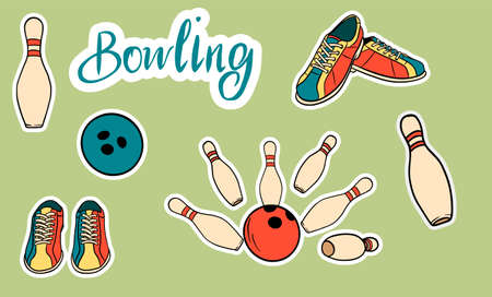 Set of vector icons dedicated to bowling. Isolated icons and lettering