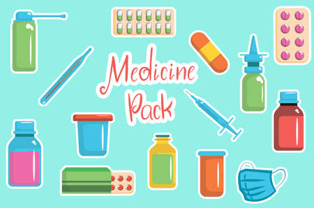 Medicine bottles collection. Drugs, tablets, capsules and sprays Vector illustration