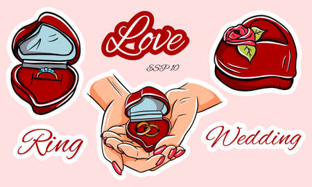 Marriage proposal. Betrothal. Engagement ring. Wedding rings. Heart shaped ring box. Vector set of stickers.