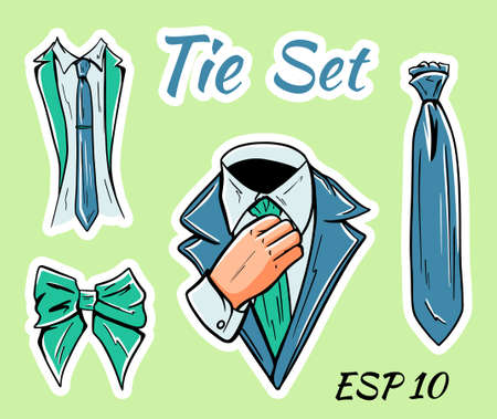 Illustration of a set of mens business ties and bow ties. Isolated set of stickers. 矢量图像
