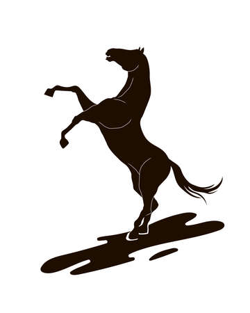 vector silhouette of a horse that rears up. Vector isolation
