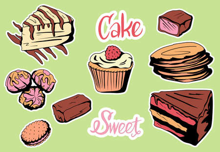 Vector set.Set of colorful delicious slices of cakes, slices of pies and other baking desserts Vettoriali