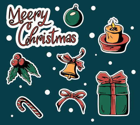 Set of colorful beautiful Christmas icons. Sweet decorated New Year substrates - gingerbread man, snowflake, tree, ball, sock, other symbols of the holiday. 矢量图像
