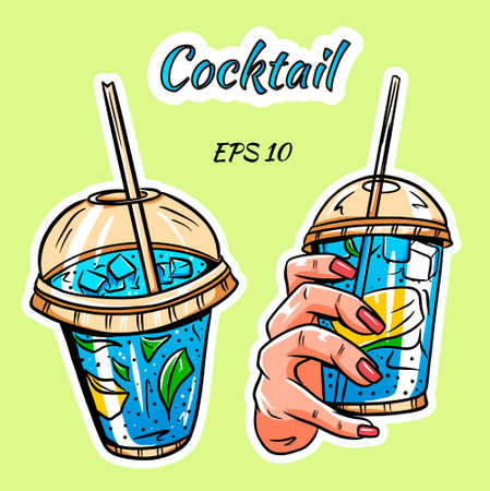 A set of cocktails. Cocktail in hand. Set of stickers.