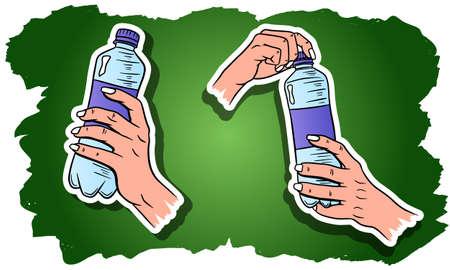 World Water Day. Water in a plastic bottle. Water bottle in hand. Set of vector illustrations. Ilustracje wektorowe