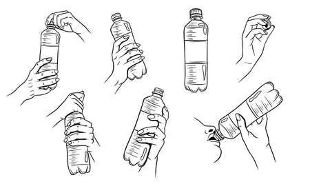 World Water Day. Water in a plastic bottle. Water bottle in hand. Set of vector illustrations.