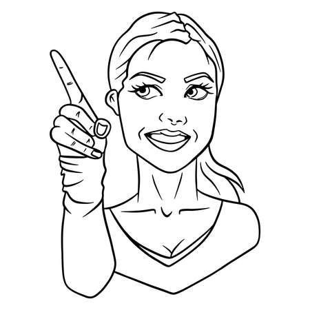 The girl makes a gesture with her finger. Blonde girl sticker. Can be used for design and decoration.