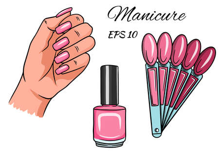 Manicure. Hand with painted nails. Varnish, Palette with pink flowers for manicure. A set of illustrations for decoration and design.