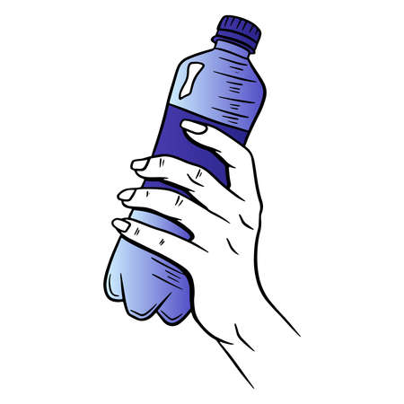 Water bottle. International Water Day. Water in a plastic bottle. Cartoon style. Vector illustration. For design and decoration.