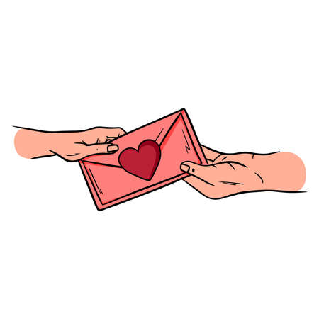 Valentine is passed from hand to hand. Envelope with hearts. Cartoon style. Vector illustration for design and decoration.