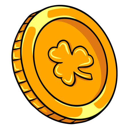Gold coin. Money. One coin. Lucky coin. Cartoon style. Illustration for design and decoration. Vector Illustration