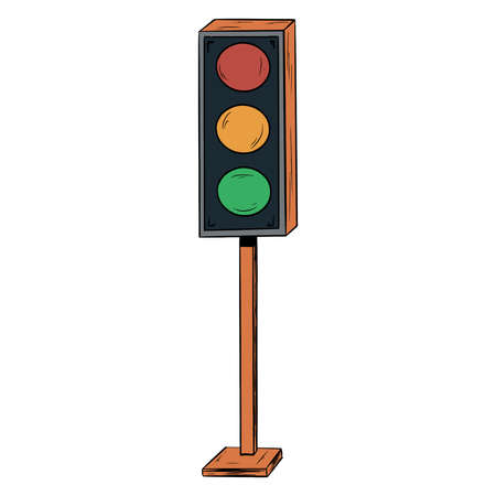Traffic light. Regulator of road traffic. Road traffic light. Cartoon style. Illustration for design and decoration.