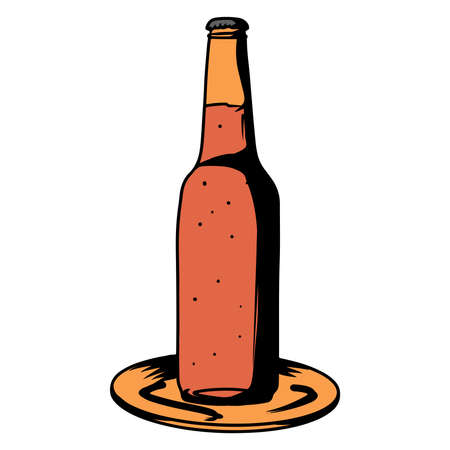 Beer in a bottle. Alcohol. Bar. Alcoholic drink in a glass bottle. Cartoon style. For design and decoration.