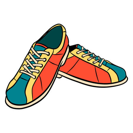 Bowling shoes. Shoes for the game. Required for bowling. Bowling Club. Cartoon style. Illustration for design and decoration. Vector Illustratie