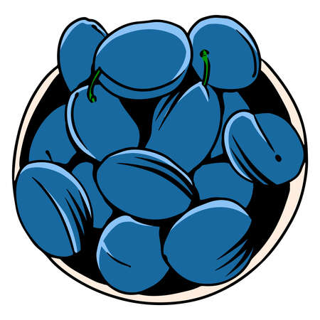 Plums. There are a lot of drains into the tackle. Fruits. Healthy food. Vitamins. Cartoon style. Vector illustration for design and decoration.