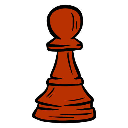 Pawn. Chess figure. The game. Chess tournament. Logic game. Cartoon style. Vector illustration for design and decoration.