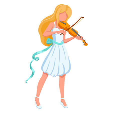 Violinist girl. Music. Playing musical instruments. Executor. Cartoon style. Vector illustration isolated for design and decoration.