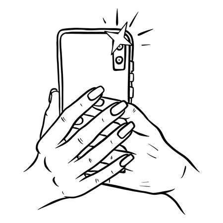 Photos on the phone. Phone in hand. Selfie. Cartoon style. Illustration for design and decoration.