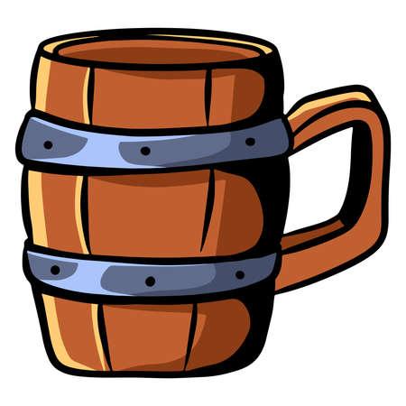 Wooden mug. Alcohol mug. Bar. Tavern. Cartoon style. Illustration for design and decoration.