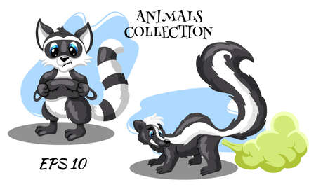 Wild animal characters. Skunk with a smelly cloud. Raccoon with a mask for sleeping. Cartoon style. Children's illustrations in the bedroom, for printing in the book. Vector drawings.