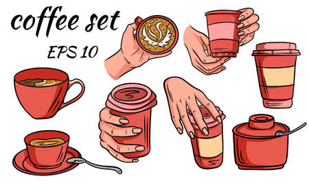 Set of coffee. Takeaway coffee in hand and in a mug. Takeaway glass. Sugar bowl. Cartoon style. For decorating a coffee shop. Vector illustration for design.