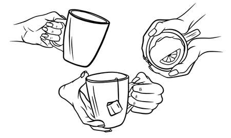 A cup of tea in the hands of a woman. Brewed tea bags with lemon. A woman warms her hands by touching a cup of hot tea. Time relax. Sketch style Isolated on background.