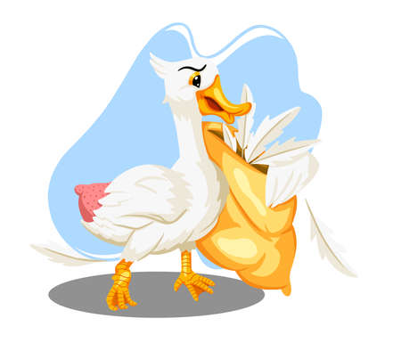 Animal characters. Funny goose with a goose feather pillow. Cartoon style. For illustrating books. Children's illustration.