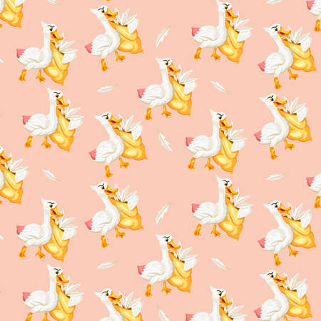 Animal characters. Funny goose with a goose feather pillow. Cartoon style. Seamless pattern. For illustrating books. Children's illustration. Vektoros illusztráció