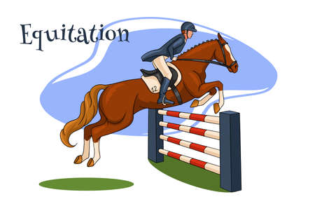 Horseback riding. Show jumping. A woman in a competition jumps on a horse over an obstacle. Cartoon style.
