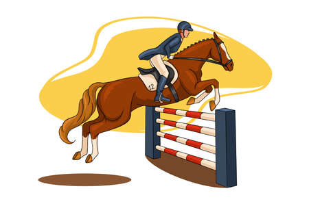 Horseback riding. Show jumping. A woman in a competition jumps on a horse over an obstacle. Cartoon style. Vetores