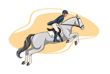 Horseback riding. Show jumping. A woman in a competition jumps on a horse. Cartoon style.