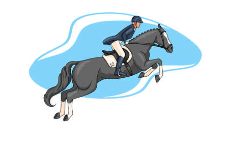 Horseback riding. Show jumping. A woman in a competition jumps on a horse. Cartoon style. Vetores