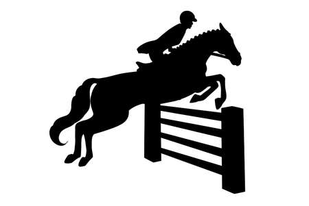 Horseback riding. Show jumping. A woman in a competition jumps on a horse over an obstacle. Silhouette.